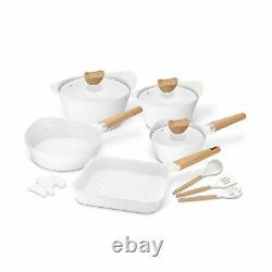 Kitchen Cookware Utensils Set Nonstick Aluminum Induction Pots 15 Pc White New