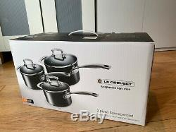 LE CREUSET toughened non stick sauce pan and lid set (RRP 345)