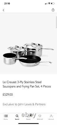 Le Creuset 3 Ply Stainless Steel Non Stick 4 Piece Set RRP £529