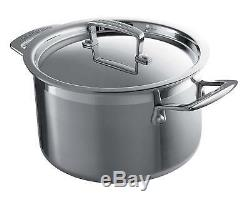 Le Creuset 4 Piece Stainless Steel Saucepan Set, Silver, 3-Ply, Riveted Handles
