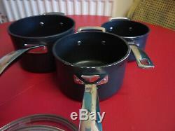 Le Creuset Toughened Non Stick Set of 3 x Saucepans with Lids