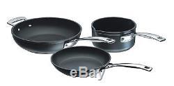 Le Creuset Toughened Nonstick Cookware Set 3 Piece Black Hob And Dishwasher Safe