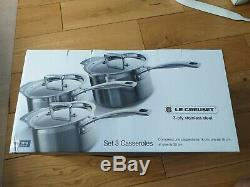 Le Creuset Toughened Stainless Steel Saucepan Set Silver, 3 Pieces 1125355