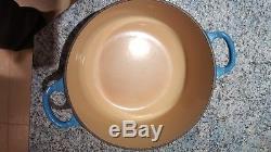 Le Crueset Pan Set, four blue pans with lids, see description