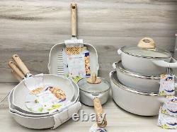 Masterclass Premium Cookware 12 Pc Speckled Casseroles, Pans, Grill, Pot Set New
