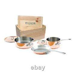 Mauviel M'Heritage M'150s 5 Piece Copper Cookware Set With Wooden Crate