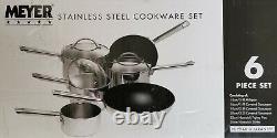 Meyer 6 Piece Stainless Steel Pan Set 14, 16, 18, 20, 22, 26 cm 81254