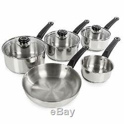 Morphy Richards 5-Piece Stainless Steel Pan Set Tempered Glass Lids Hob Cooking