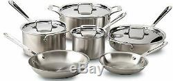 NEW All-Clad d5 Stainless-Steel 10-Piece Cookware Set POT PAN FREE SHIPPING