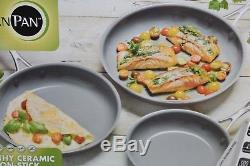 NEW Greenpan 3 piece Frypan Set Ceramic Non Stick Pan Thermolon HEALTHY 8 10 12