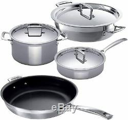 NEW Le Creuset 3-PLY 4 Piece Stainless Steel Frying Pan, Casserole, Saucepan Set