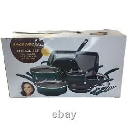 NEW! Rachael Ray 14 Piece Hard Enamel Marine Blue Non Stick Kitchen Cookware Set