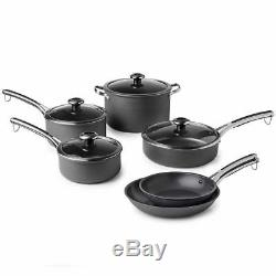 NEW Revere Hard Anodized Aluminum 10 Piece Cookware Set Pots Pans Non Stick