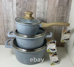 NEW! Speckled Blue Master Class Nonstick 6Pc Premium Cookware Pan Set Casserole