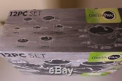 NIB GreenPan Black Ceramic Nonstick 12-piece cookware set pots & pans