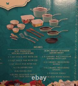 NIB The Pioneer Woman Frontier Speckle 25-Piece Nonstick & Cast Iron Cookware