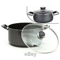NON STICK CASSEROLE DISH PAN SAUCE POT KITCHEN COOKWARE SET w GLASS LIDS 3 SIZES