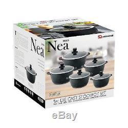 Nea 5pc Marble Coated Die cast Non stick Pot Pan Stockpot Set With Lids Black