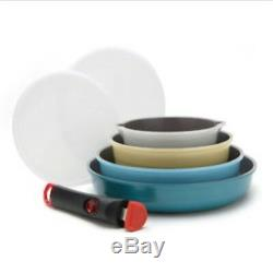 Neoflam Midas Ceramic Nonstick Cookware Set with Detachable Handle 9P Pan Lid