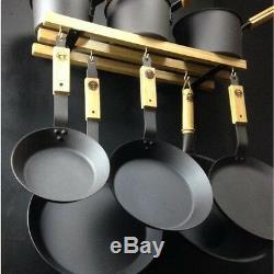 Netherton Foundry Shropshire Made spun iron pan set with oak pan storage rack