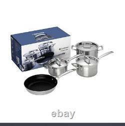 New 4pc Le Creuset Stainless Steel Cookware Set Saucepan, Non-Stick Frying Pan
