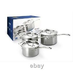 New Le Creuset 3-Ply Stainless Steel Saucepan Set, 3-Piece