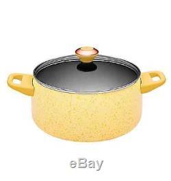 New Porcelain Nonstick 15 piece Butter Speckle Cookware Set lifetime pots pans