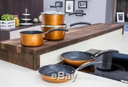New Scoville Non Stick 8Pc Grill Saucepan Pan Pot SET Copper Shade Dine DECOR UK