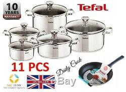 New TEFAL DUETTO STAINLESS STEEL SET 11 PCS LID POTS 24 cm PAN DAILY COOK