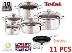 New TEFAL DUETTO STAINLESS STEEL SET 11 PCS LID POTS 24 cm PAN INTUITION KITCHEN