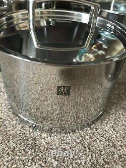 New Zwilling 5 Piece Polished Stainless Steel Pan Set With Lids