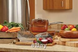 Non Stick Cooking Set Tristar Products 5 Piece Chef Pan with Glass Lid, Copper