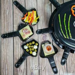 Non-Stick Raclette Grill 8 Person Set Pans for Cheese & Spatulas Electric Cooker