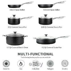 Nonstick Cookware Set, 10 Piece Stone-Derived Cooking Pots and Pans with Lids