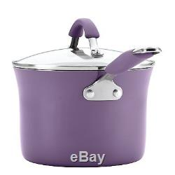 Nonstick Cookware Set 12 PC Rachel Ray Pots Pans Kitchen Enamel Cooking Purple