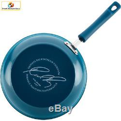 Nonstick Cookware Set 15-Piece Rachael Ray Hard Enamel Aluminum Blue Pot Pans