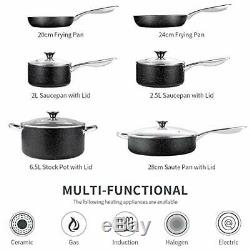 Nonstick Cookware Set Induction, 10 Piece Stone-Derived Cooking Pots and Pans