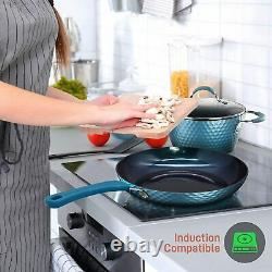 Nonstick Cookware Set Pan and Pot Frying Home Kitchen Skillet Cooking Blue 11pc