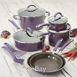 Nonstick Cookware Set Rachel Ray Pots Pans Kitchen Enamel Cooking Purple 12 PC