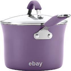 Nonstick Cookware Set Rachel Ray Pots Pans Kitchen Enamel Cooking Purple 12 Pcs