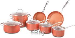 NuWave Duralon Ceramic Nonstick 12-Piece Cookware Set with 11 Covered Grill Pan