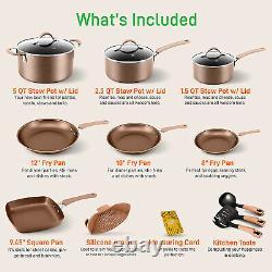 NutriChef Nonstick Cooking Kitchen Cookware Pots and Pans, 14 Piece Set, Bronze
