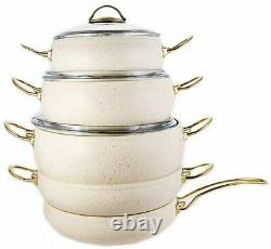 OMS Cookware 9 Piece Non Stick Granite Ivory Set With Glass Lids NEW