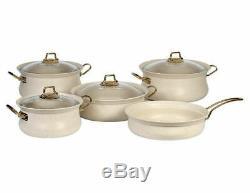 OMS Cookware Ivory White 9 Piece Non Stick Set Glass Lids Casserole Pan Pot 3045