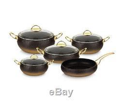 OMS Granite Copper 9 Piece Cookware Ball Shape Set Glass Lids Casserole Pan Pot