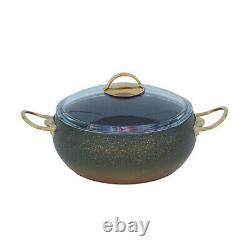 OMS Granite Green 9 Piece Cookware Ball Shape Set Glass Lids Casserole Pan Pot