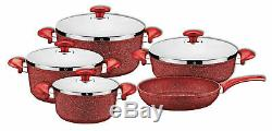 OMS Granite Professional Cookware Set Casserole Pot Frying Pan StainlesSteel Red