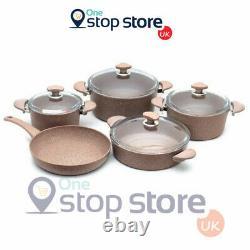 OMS Non Stick Deep Die Cast Stockpot Casserole Cooking Pan Brown Granite 9 Piece
