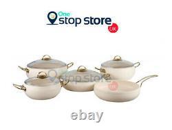 OMS Non Stick Granite Cookware Ball Shape Set Ivory Casserole Pot Glass Lids 9Pc