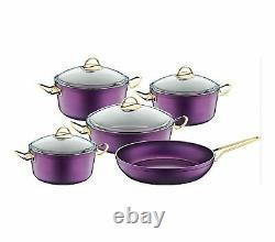 OMS Non Stick Professional Cookware Set Purple Casserole Pot Frying Pan 3002
